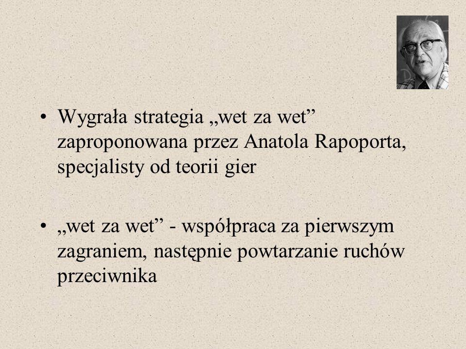 """Wygrała strategia """"wet za wet zaproponowana przez Anatola Rapoporta, specjalisty od teorii gier"""