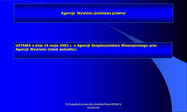 Agencja Wywiadu /podstawa prawna/