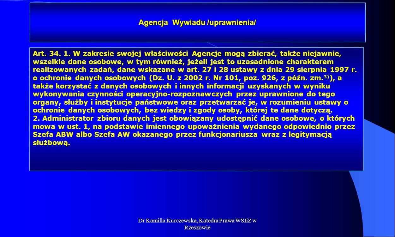 Agencja Wywiadu /uprawnienia/