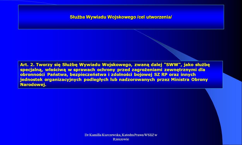 Służba Wywiadu Wojskowego /cel utworzenia/