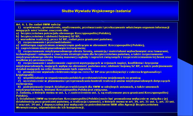 Służba Wywiadu Wojskowego /zadania/