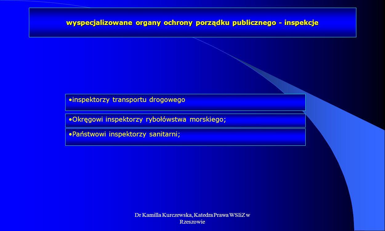 wyspecjalizowane organy ochrony porządku publicznego - inspekcje
