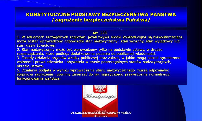 KONSTYTUCYJNE PODSTAWY BEZPIECZEŃSTWA PANSTWA /zagrożenie bezpieczeństwa Państwa/