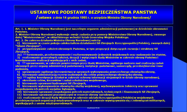 USTAWOWE PODSTAWY BEZPIECZEŃSTWA PANSTWA /ustawa z dnia 14 grudnia 1995 r. o urzędzie Ministra Obrony Narodowej/