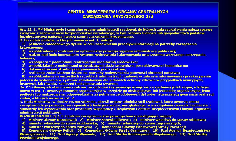CENTRA MINISTERSTW I ORGANW CENTRALNYCH ZARZĄDZANIA KRYZYSOWEGO 1/3