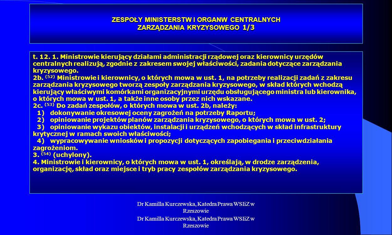 ZESPOŁY MINISTERSTW I ORGANW CENTRALNYCH ZARZĄDZANIA KRYZYSOWEGO 1/3