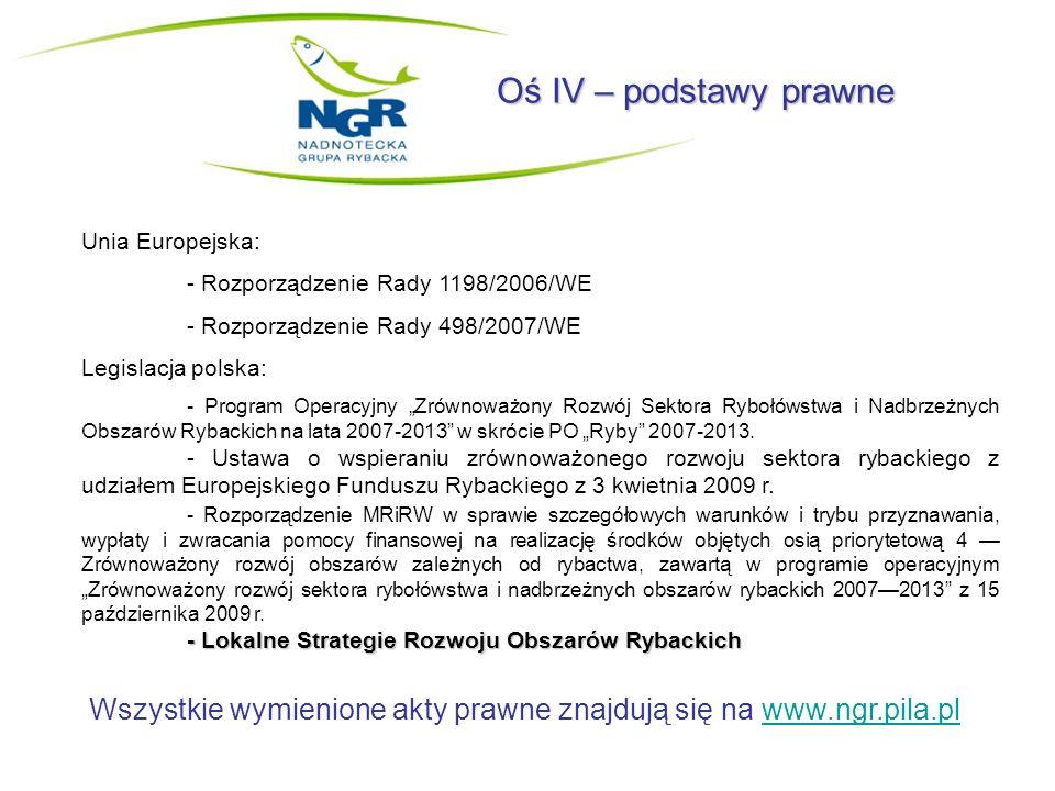 Oś IV – podstawy prawne Unia Europejska: - Rozporządzenie Rady 1198/2006/WE. - Rozporządzenie Rady 498/2007/WE.