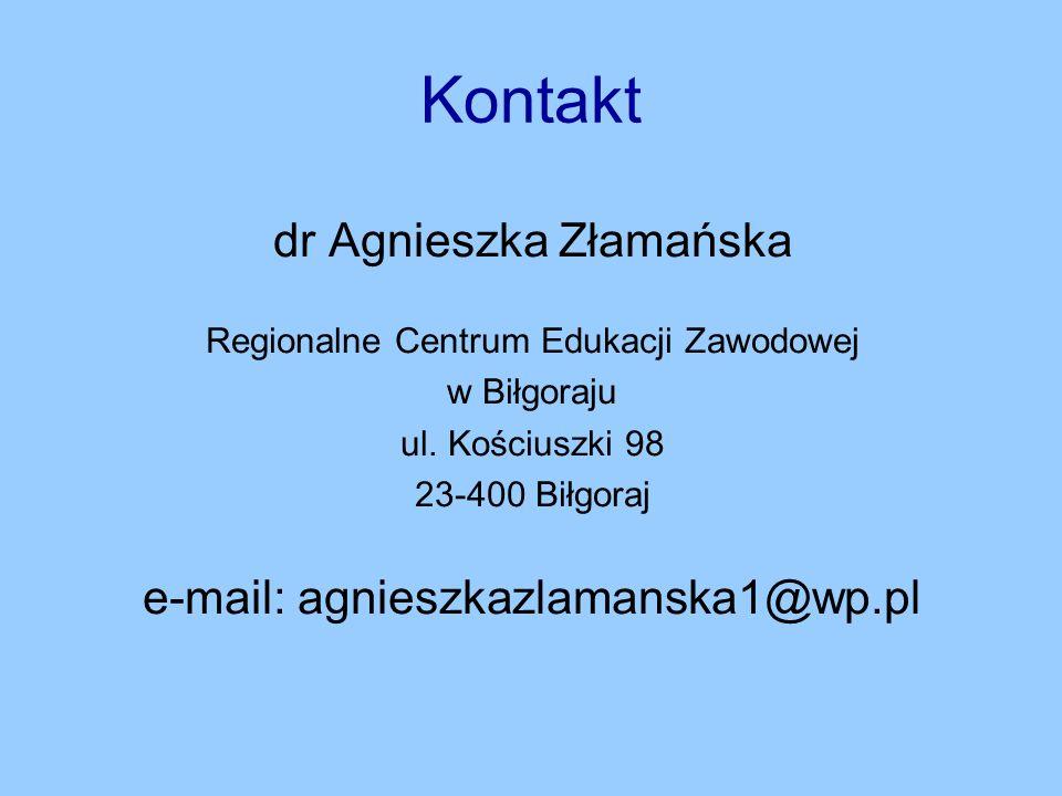 Kontakt dr Agnieszka Złamańska e-mail: agnieszkazlamanska1@wp.pl
