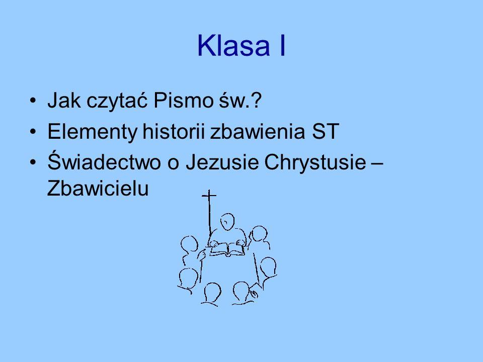 Klasa I Jak czytać Pismo św. Elementy historii zbawienia ST