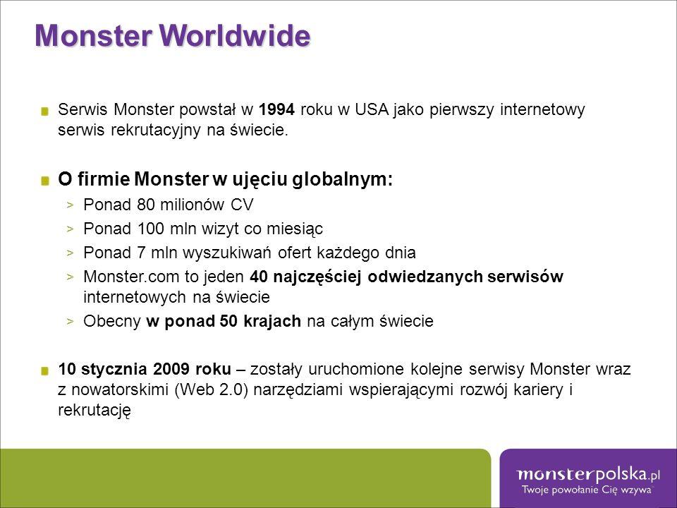 Monster Worldwide O firmie Monster w ujęciu globalnym: