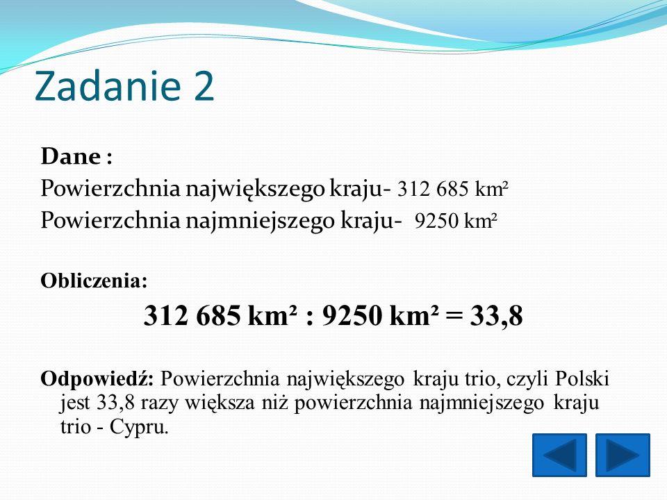 Zadanie 2 312 685 km² : 9250 km² = 33,8 Dane :