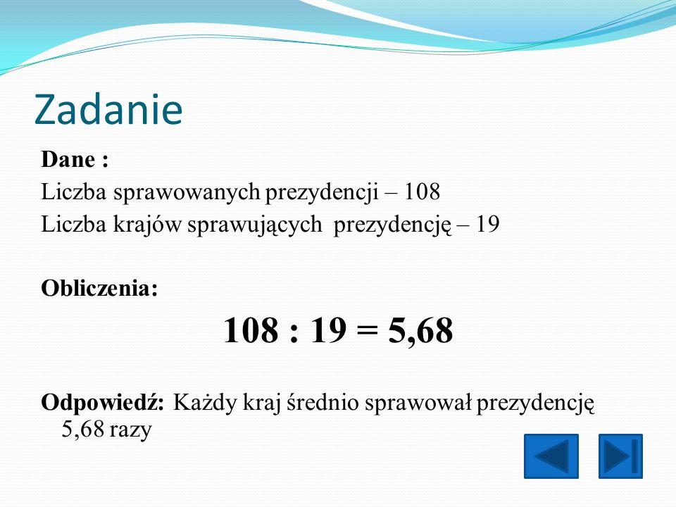 Zadanie 108 : 19 = 5,68 Dane : Liczba sprawowanych prezydencji – 108