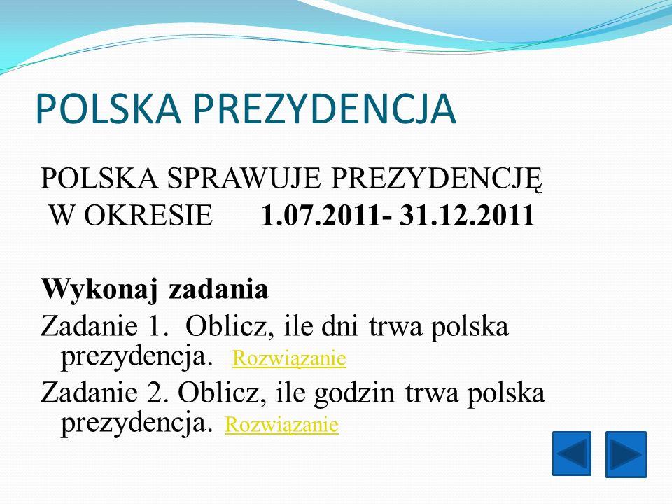 POLSKA PREZYDENCJA POLSKA SPRAWUJE PREZYDENCJĘ