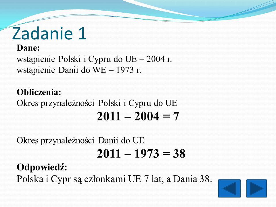 Zadanie 1 2011 – 2004 = 7 2011 – 1973 = 38 Odpowiedź: