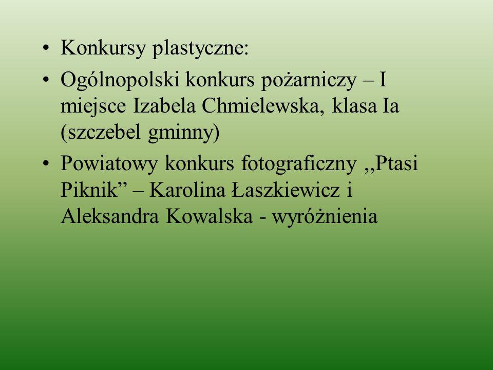 Konkursy plastyczne: Ogólnopolski konkurs pożarniczy – I miejsce Izabela Chmielewska, klasa Ia (szczebel gminny)