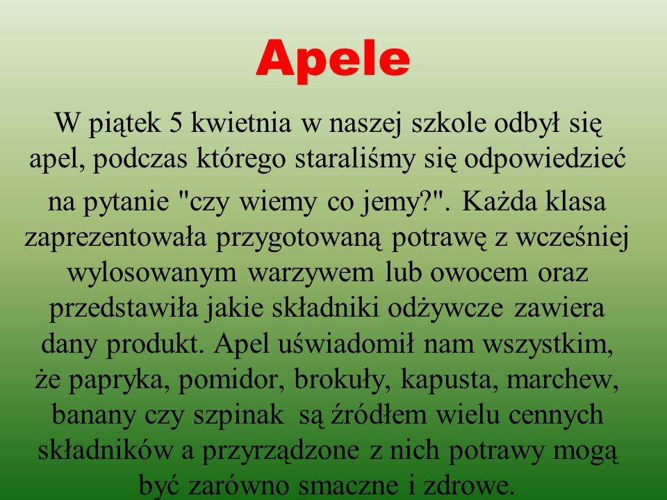 Apele W piątek 5 kwietnia w naszej szkole odbył się apel, podczas którego staraliśmy się odpowiedzieć.