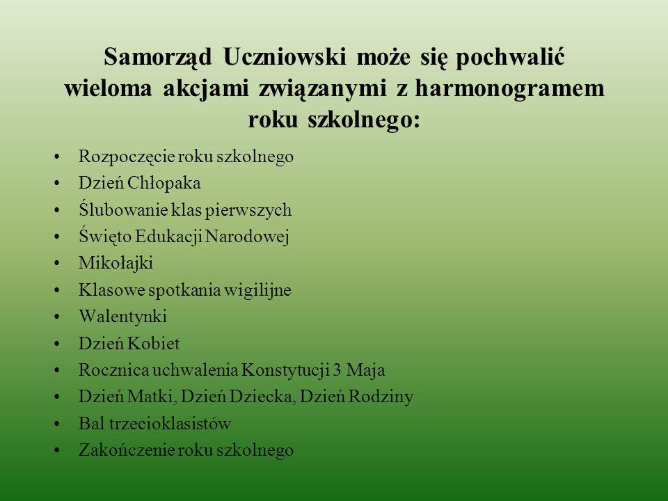 Samorząd Uczniowski może się pochwalić wieloma akcjami związanymi z harmonogramem roku szkolnego: