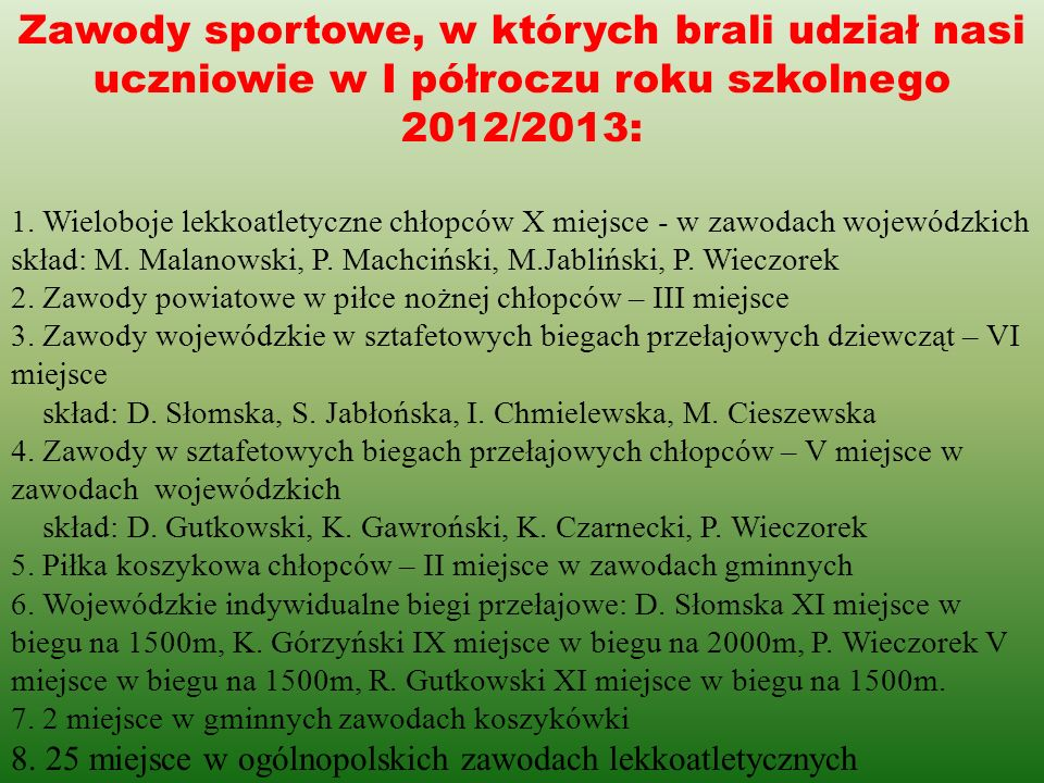 Zawody sportowe, w których brali udział nasi uczniowie w I półroczu roku szkolnego 2012/2013: