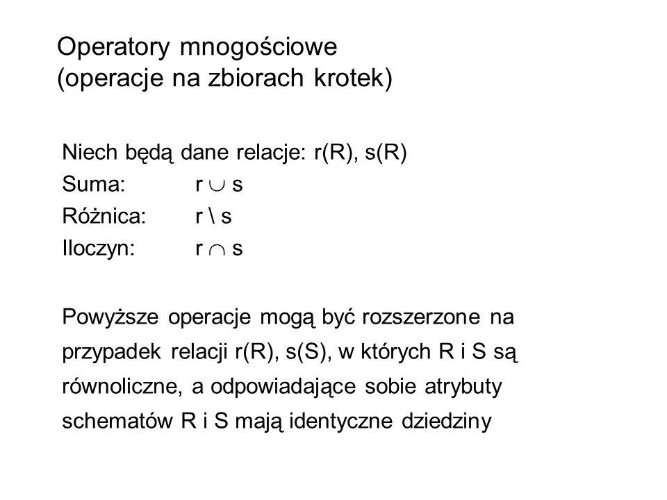 Operatory mnogościowe (operacje na zbiorach krotek)