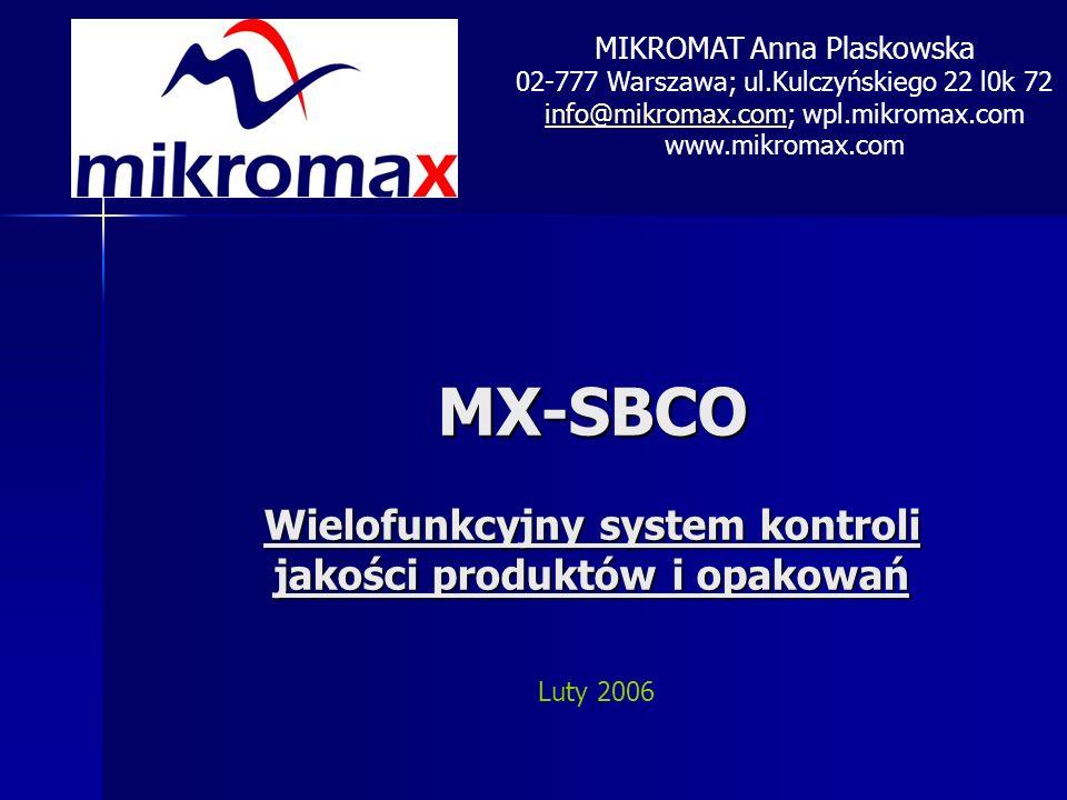 MX-SBCO Wielofunkcyjny system kontroli jakości produktów i opakowań