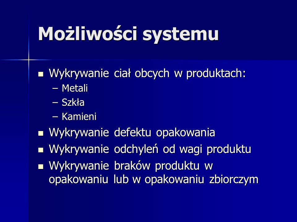 Możliwości systemu Wykrywanie ciał obcych w produktach: