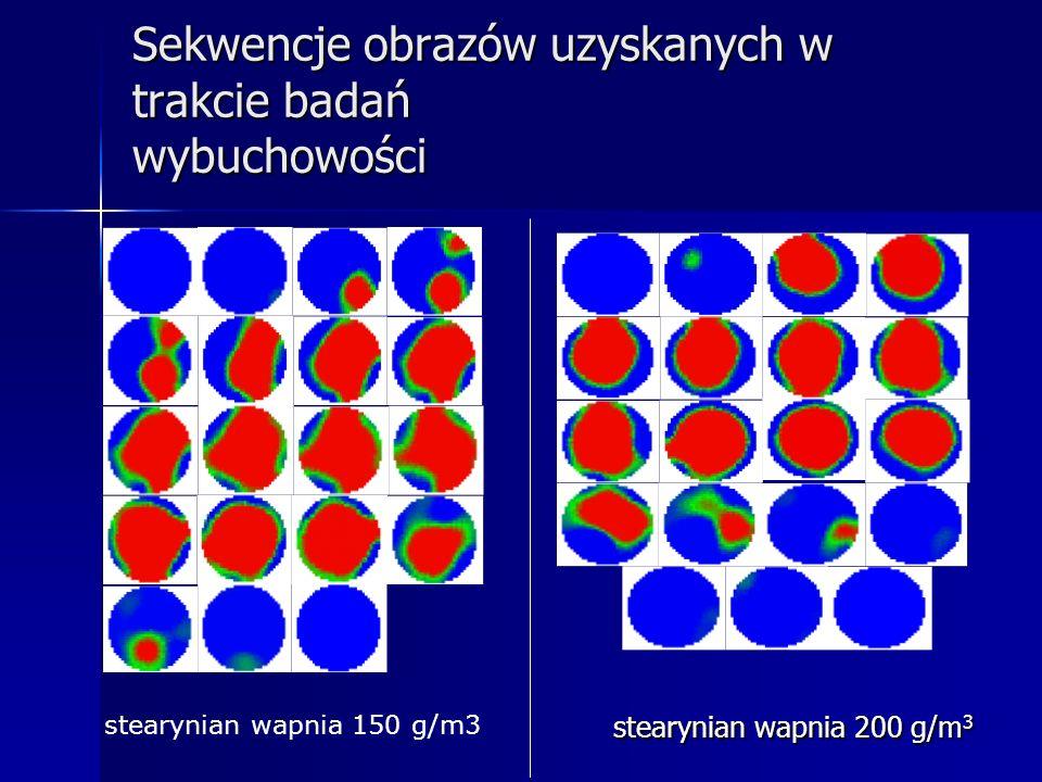 Sekwencje obrazów uzyskanych w trakcie badań wybuchowości