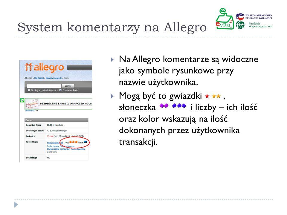 System komentarzy na Allegro