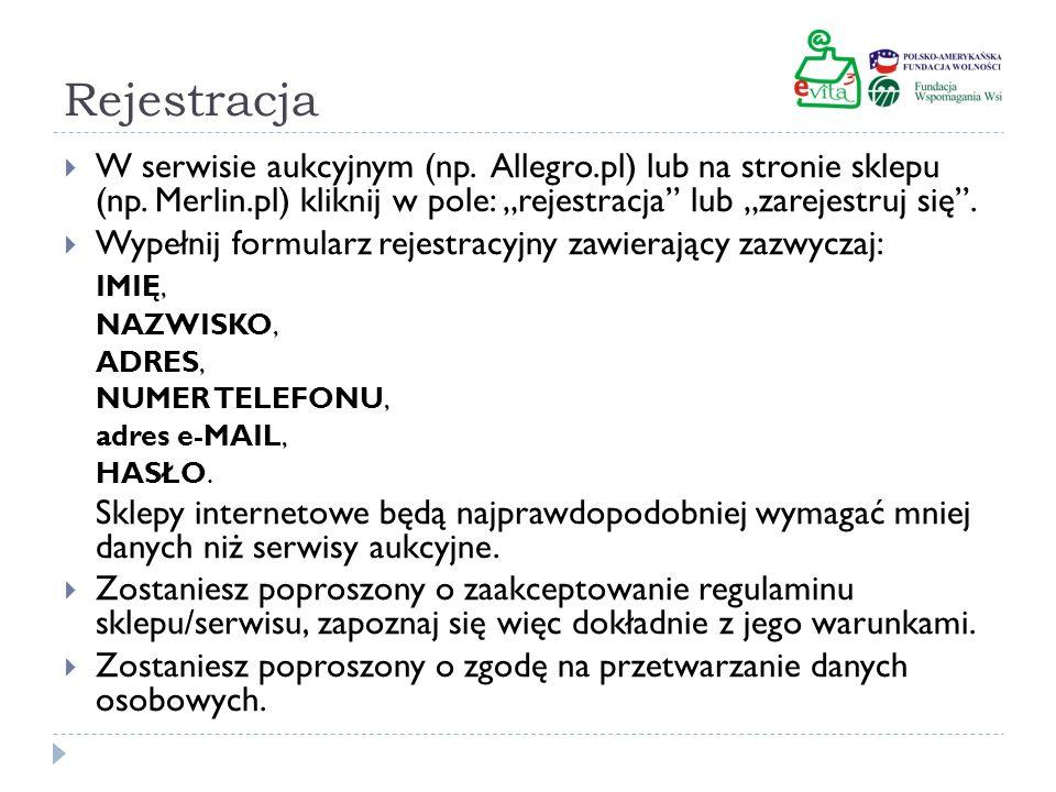 """Rejestracja W serwisie aukcyjnym (np. Allegro.pl) lub na stronie sklepu (np. Merlin.pl) kliknij w pole: """"rejestracja lub """"zarejestruj się ."""