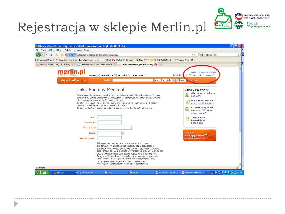 Rejestracja w sklepie Merlin.pl