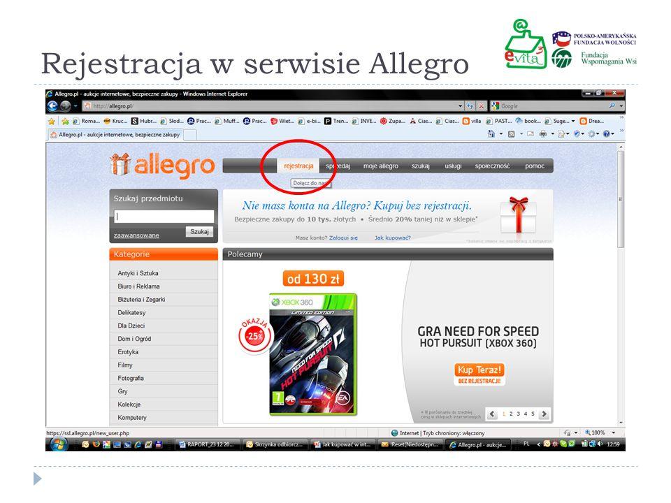 Rejestracja w serwisie Allegro