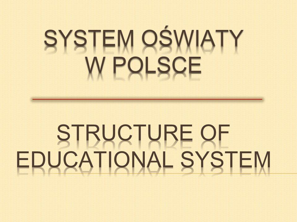 SYSTEM OŚWIATY W POLSCE STRUCTURE OF EDUCATIONAL SYSTEM