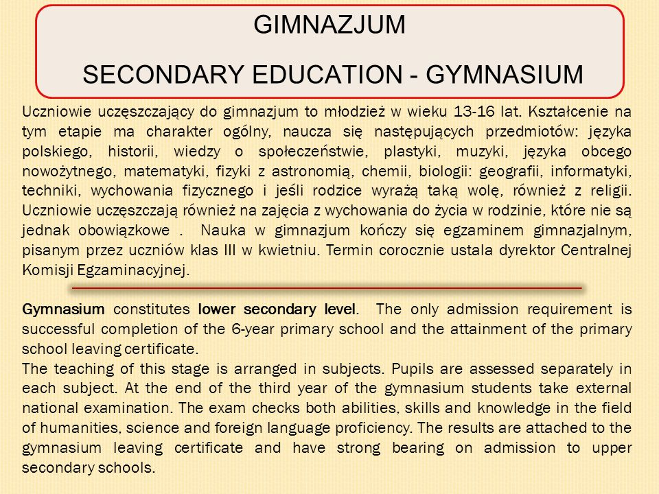 SECONDARY EDUCATION - GYMNASIUM