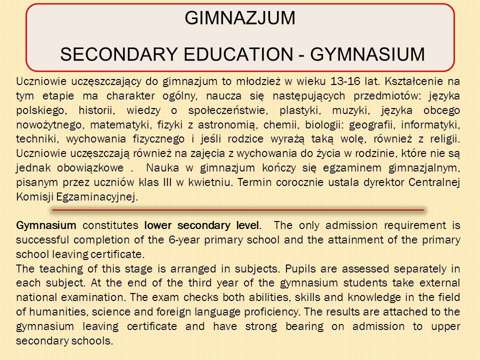 SECONDARY EDUCATION - GYMNASIUM