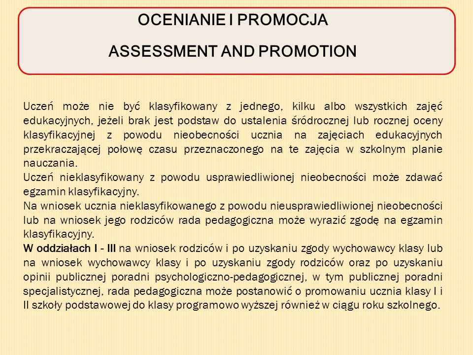 ASSESSMENT AND PROMOTION