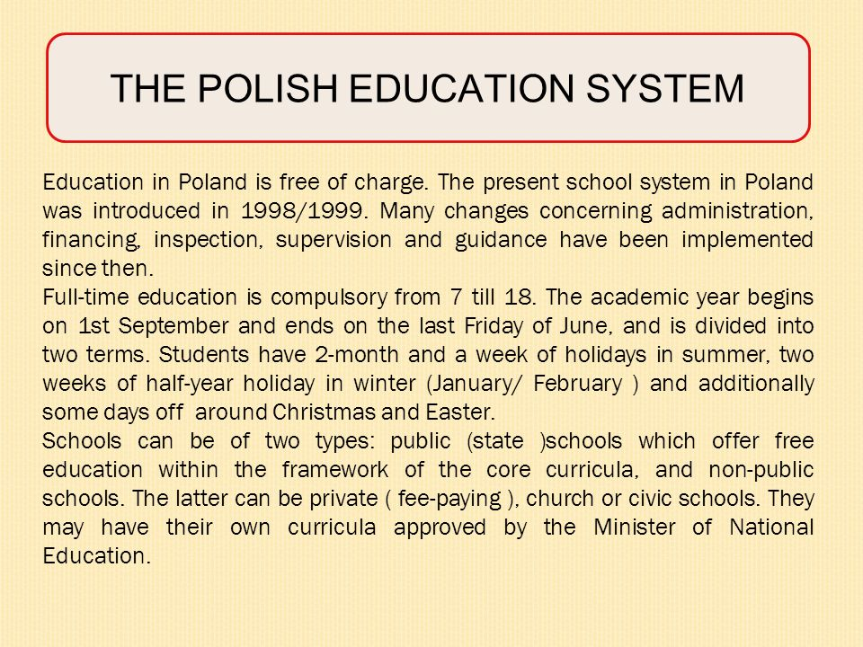 THE POLISH EDUCATION SYSTEM