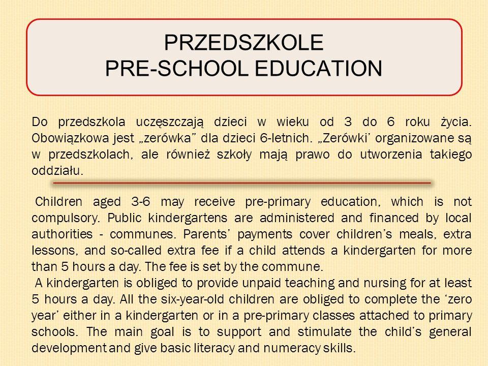 PRZEDSZKOLE PRE-SCHOOL EDUCATION