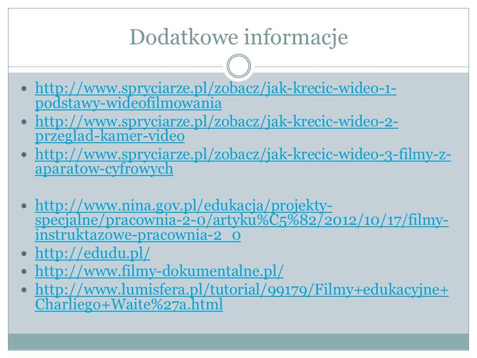 Dodatkowe informacje http://www.spryciarze.pl/zobacz/jak-krecic-wideo-1-podstawy-wideofilmowania.