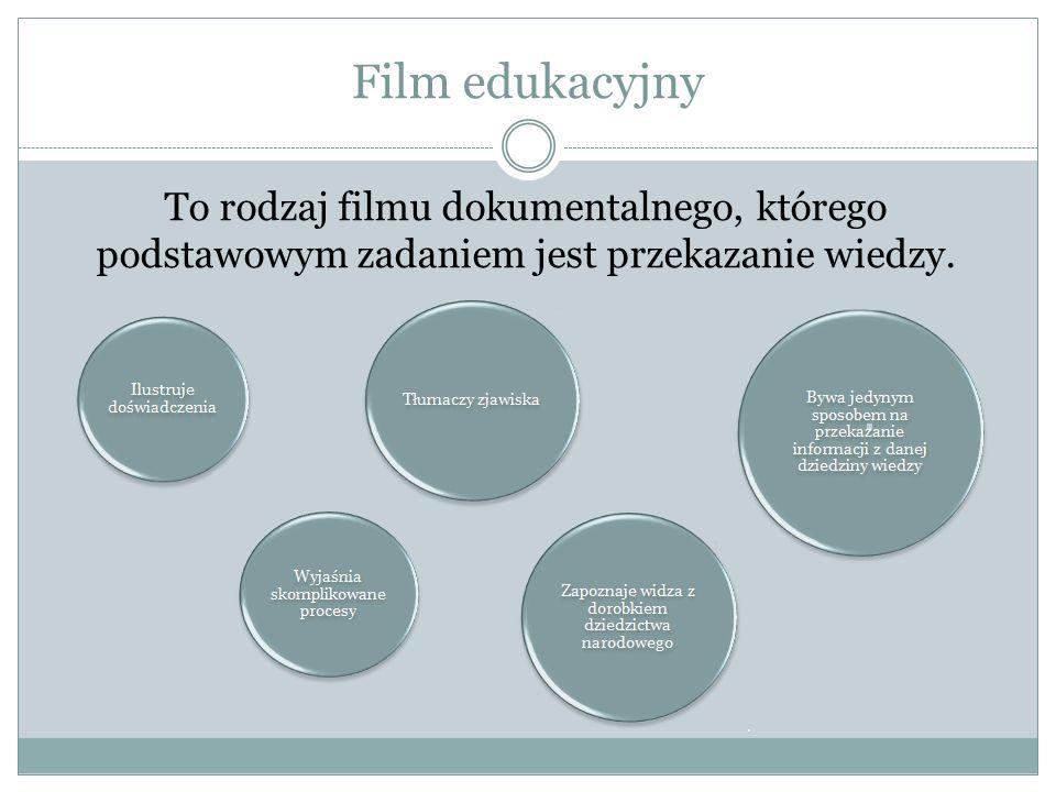Film edukacyjny To rodzaj filmu dokumentalnego, którego podstawowym zadaniem jest przekazanie wiedzy.