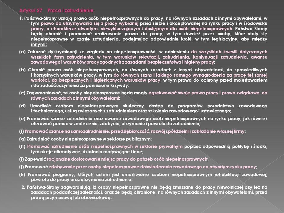 Artykuł 27 Praca i zatrudnienie