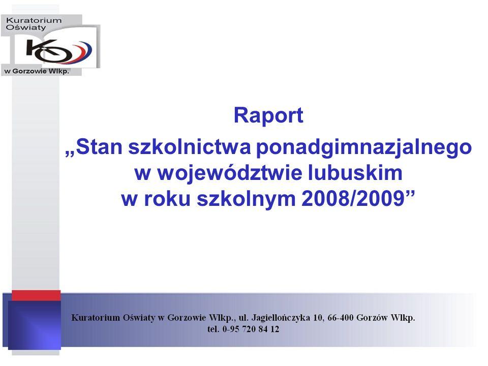 """Raport """"Stan szkolnictwa ponadgimnazjalnego w województwie lubuskim w roku szkolnym 2008/2009"""