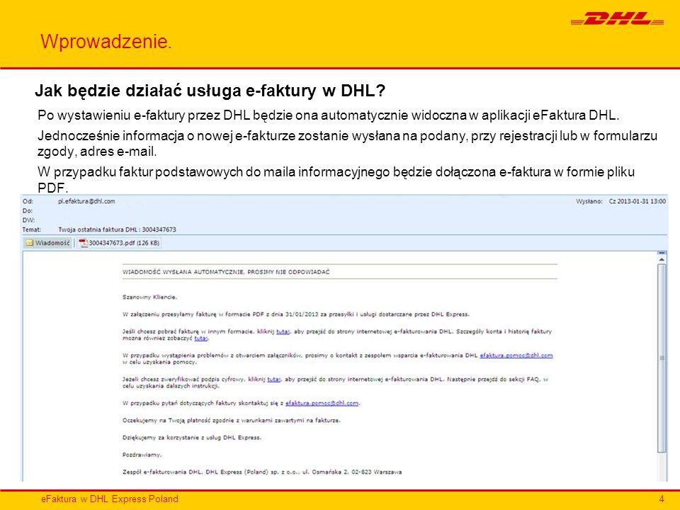 Wprowadzenie. Jak będzie działać usługa e-faktury w DHL