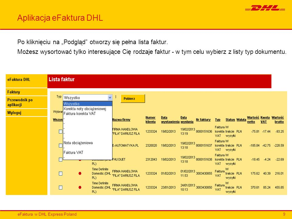 Aplikacja eFaktura DHL