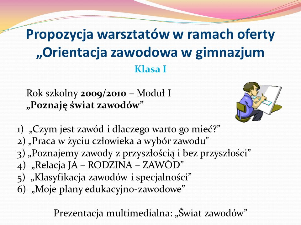 """Propozycja warsztatów w ramach oferty """"Orientacja zawodowa w gimnazjum"""