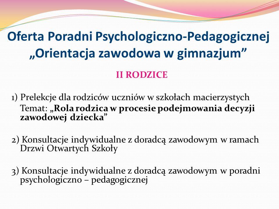"""Oferta Poradni Psychologiczno-Pedagogicznej """"Orientacja zawodowa w gimnazjum"""