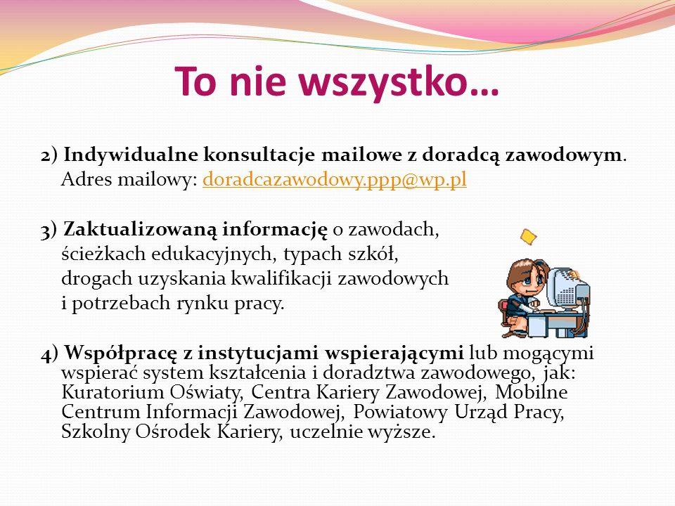 To nie wszystko… 2) Indywidualne konsultacje mailowe z doradcą zawodowym. Adres mailowy: doradcazawodowy.ppp@wp.pl.
