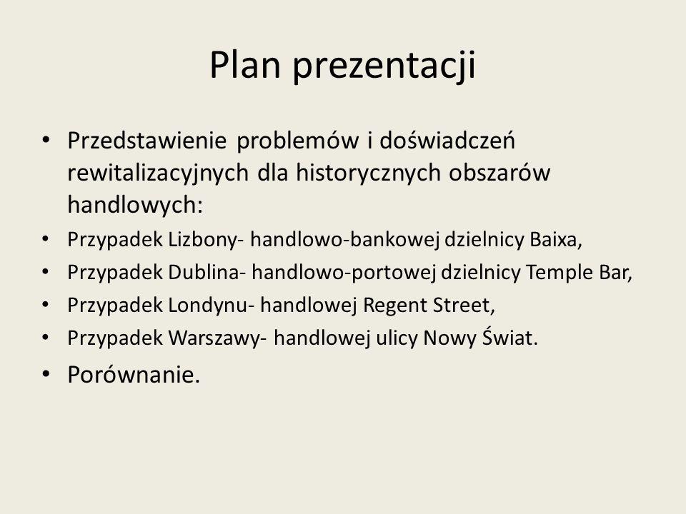 Plan prezentacji Przedstawienie problemów i doświadczeń rewitalizacyjnych dla historycznych obszarów handlowych: