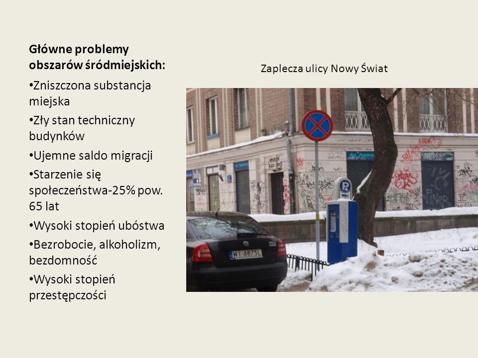 Główne problemy obszarów śródmiejskich:
