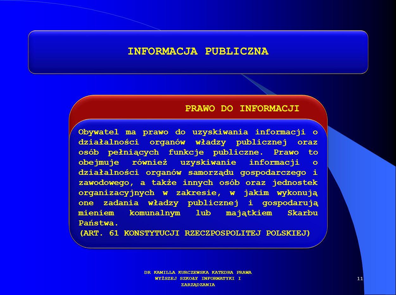 INFORMACJA PUBLICZNA PRAWO DO INFORMACJI