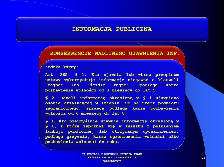 INFORMACJA PUBLICZNA KONSEKWENCJE WADLIWEGO UJAWNIENIA INF.