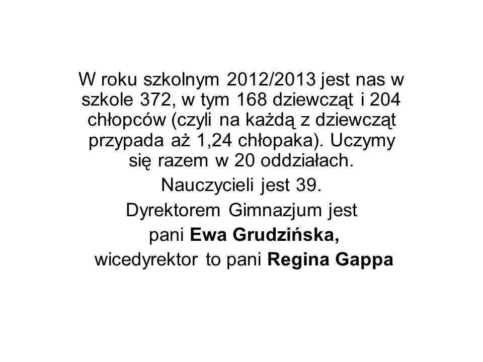 Dyrektorem Gimnazjum jest pani Ewa Grudzińska,